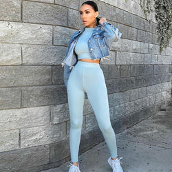 Hugcitar 2020 Long Sleeve Sexy Crop Tops Leggings 2 Pieces Set Summer Women Streetwear Outfits Pure Tracksuit Joggings Suit