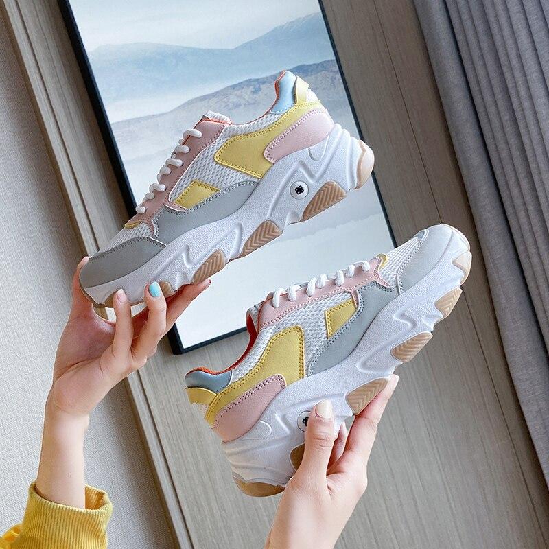 Кроссовки женские на платформе, Вулканизированная массивная подошва, дышащие, на шнуровке, спортивная обувь для отдыха, белые, осень|Кроссовки и кеды| | АлиЭкспресс