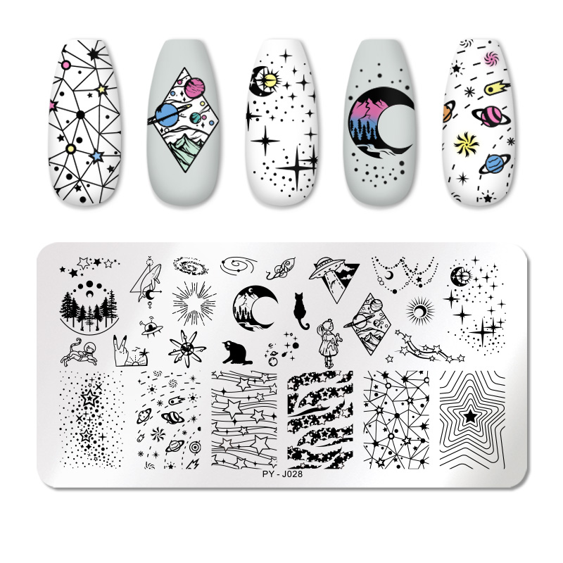 PICT YOU Striped Line Star Moon Nail Stamping Plates Geometric Plate Striped Line Nail Templates Stainless Steel Stencil Tools