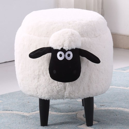 Solid Wood Creative Sheep Storage Stool Makeup Stool Living Room Change Shoe Bench Dressing Table Stool Storage Sofa Stool
