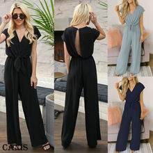 Women Summer Ladies Clubwear Summer Long Pant Playsuit Bodycon Party V Neck Simple Backless Jumpsuit Romper Overall Trousers Lot