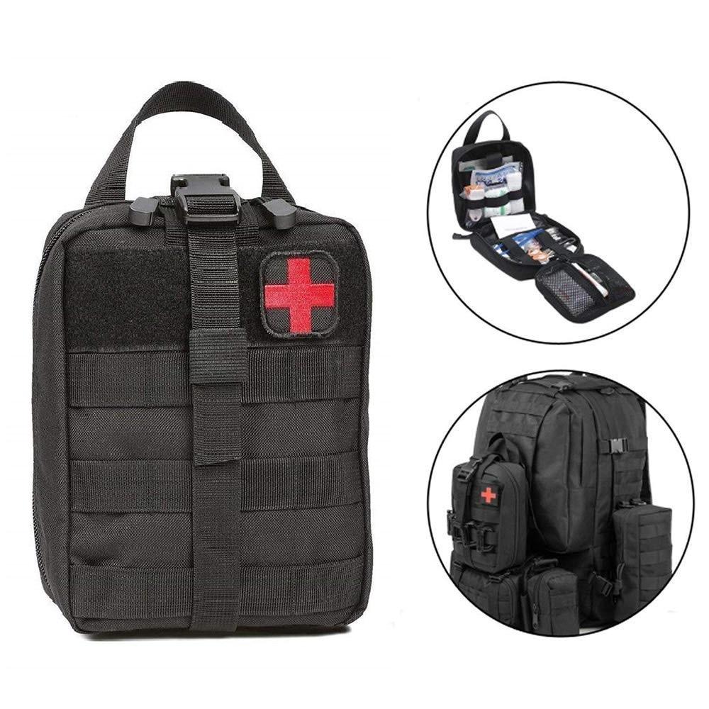 Ao ar livre kits de primeiros socorros de viagem à prova dwaterproof água oxford pano tático pacote cintura acampamento escalada saco preto caso emergência preto/verde|Kits de emergência|   -