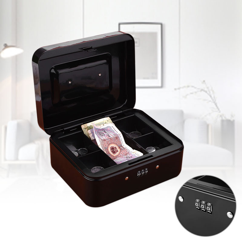 Mini Petty Cash Portable Money Box Convenient Metal Deposit Safe Password Box  Lock Lockable Safe Small Fit For House Decoration