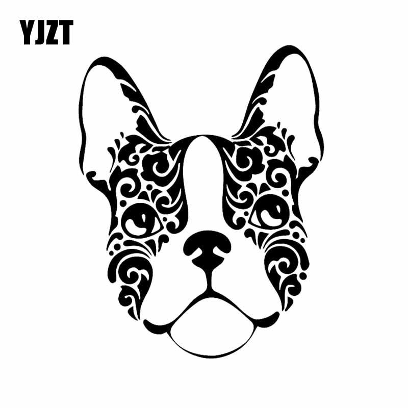 YJZT 13.1X16.7CM French Bulldog Sugar Skull Frenchie Dog Vinyl Decal Car Stickers Black/Silver C24-1591