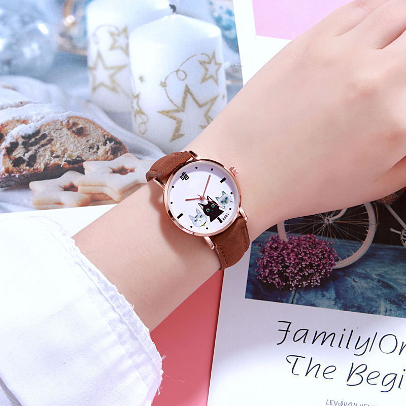 New Fashion Children's Cartoon Three Kittens Simple Retro Small Lady Lovers Quartz Girl Watches