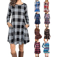 Dress Casual Robe Fit-Tunic Color-Block O-Neck Vestido Long-Sleeve Loose De Plaid Plaid