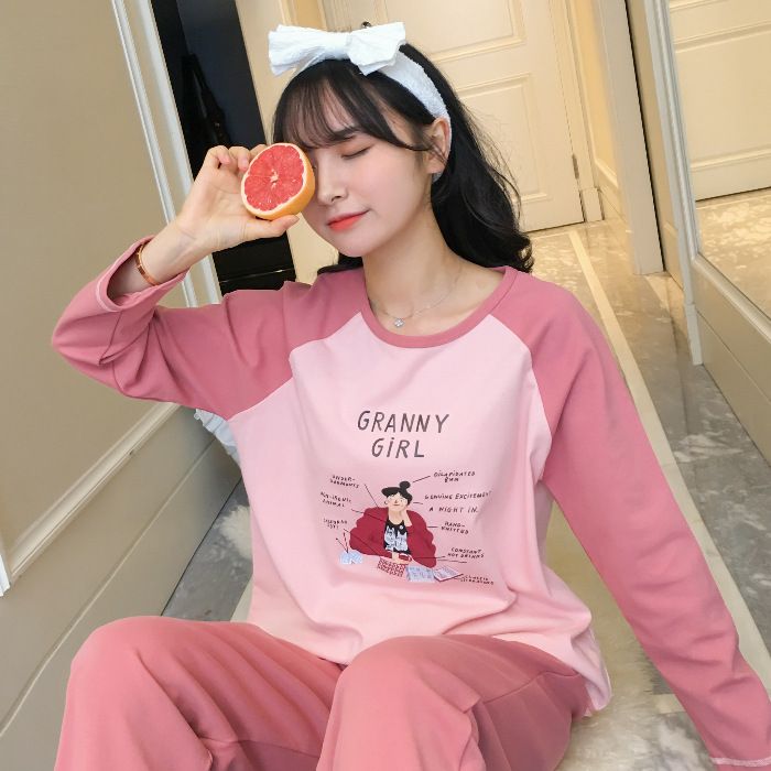 Pajamas Women's Spring And Autumn Long Sleeve Students Korean-style Fresh Cute Plaid Casual Tracksuit 9821 # M -Xxl