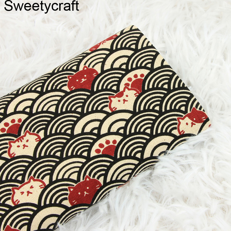 Thick 100% Cotton Fabric Japanese cat corrugated printed Cloth for DIY Handmade Sewing Patchwork Needlework Apparel Decor Tissue