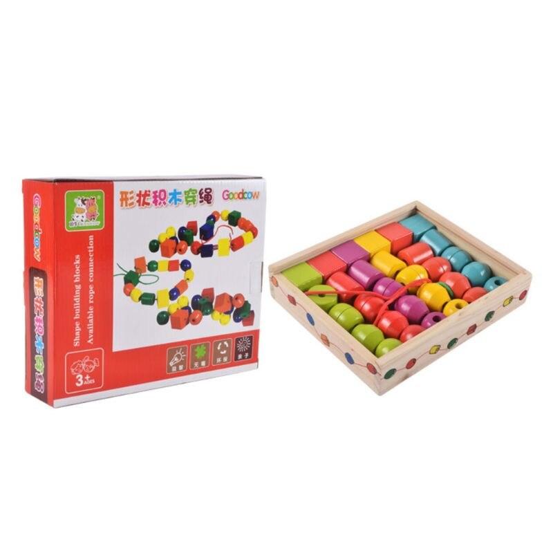 Геометрическая форма деревянные бусины на шнуровке Дети Монтессори блоки Threading обучающая игрушка подарок для детей|Пазлы|   | АлиЭкспресс