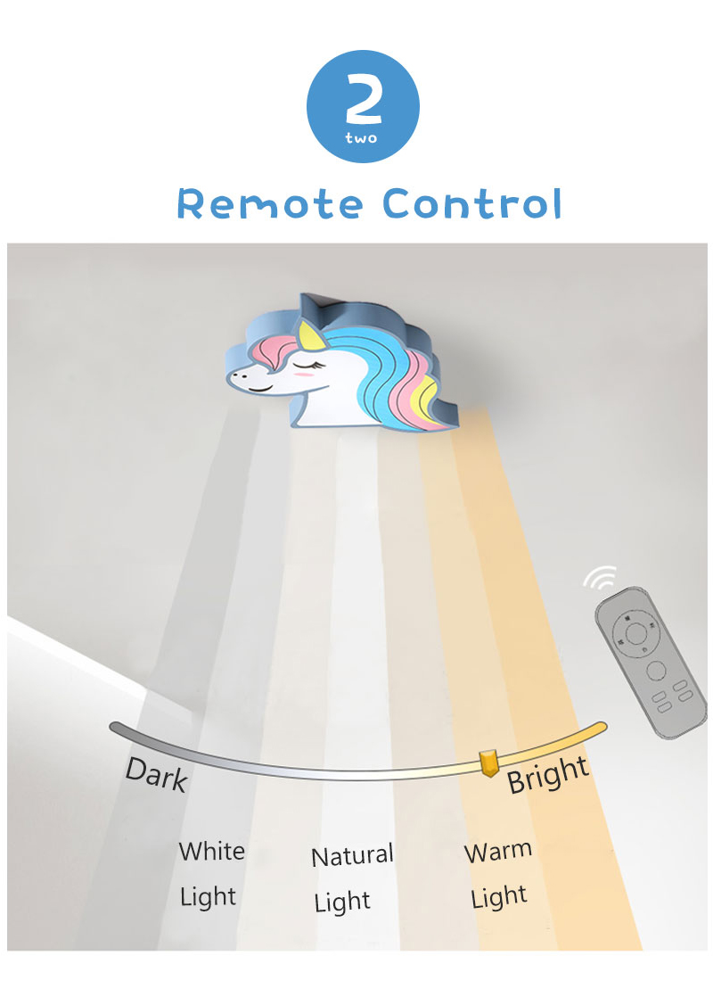 H519b851b98b94e93aee09ed35d9bd0f3k Unicorn kids room light led ceiling lights with remote control cartoon lampshade children room cute ceiling lamp deco child room