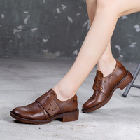 VALLU Genuine Leather Women Casual Shoes 2019 Autumn New Cross Belt Rivet Handmade Shoes Low Heeled Female Pumps