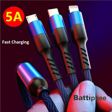 Battiphee 3 In 1 Fast Charging Cable 5A Nylon Charging Cable