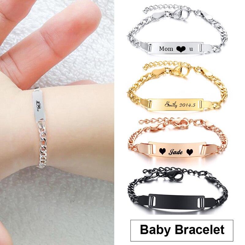 Engraved Baby Bracelet Name Bar Armband Gold Silver color Stainless Steel Pulseiras For Boy Girls Kids Women Family Bracelet(China)