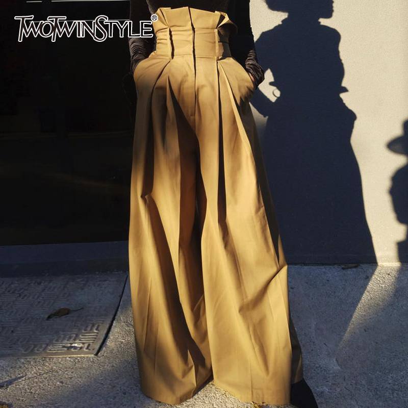 TWOTWINSTYLE Streetwear Style Women Full Length Pant High Waist Loose Ruffles Pleated Wide Leg Pants For Female Fashion Clothing
