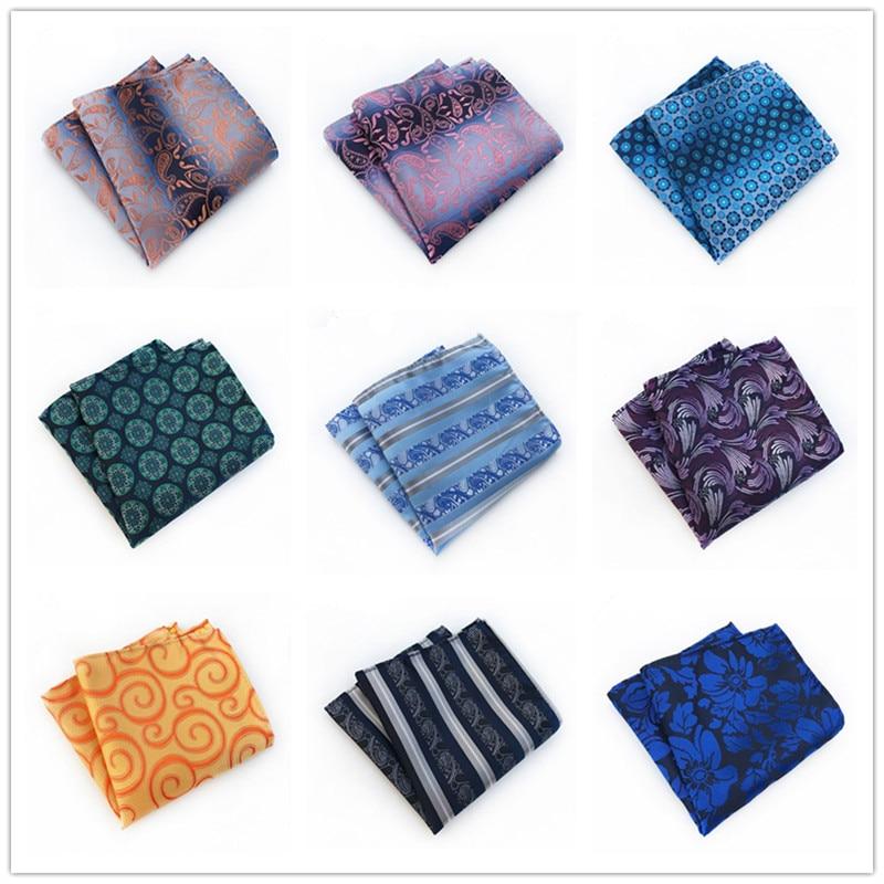New25*25CM Designer Pocket Square Fashion Handkerchief Dot Paisley Floral Plaid Style Man Gift Business Suit