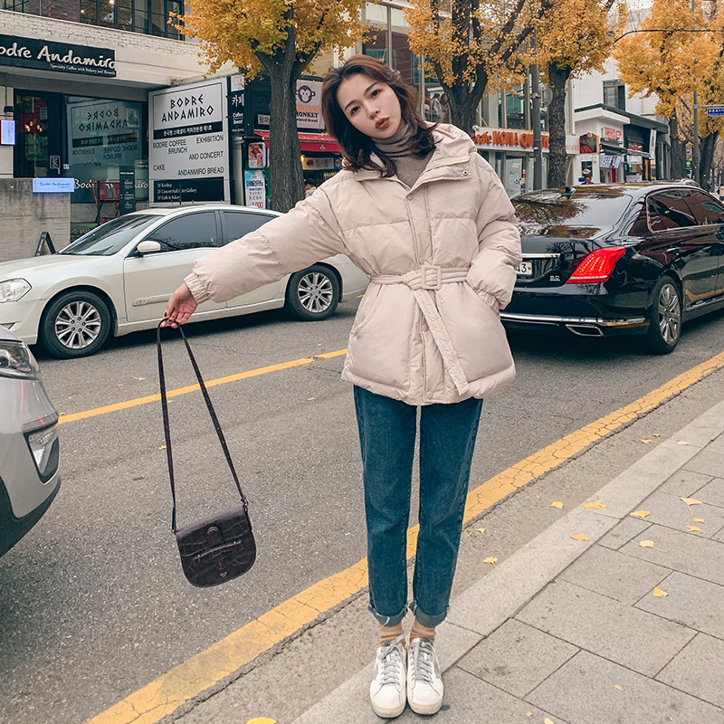 Down Feather Cotton Overcoat Women's Winter 2019 New Style Korean-style Short-height Short Loose-Fit Western Style Coat Waist Hu