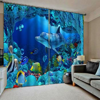 blue 3D Blackout Curtains For Living room Bedding room Drapes Cotinas para sala ocean underwater dolphin curtains