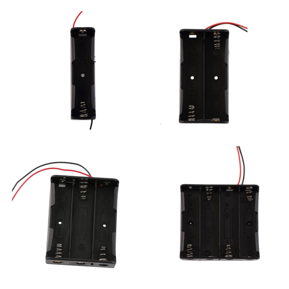 Black Plastic 1x 2x 3x 4x <font><b>18650</b></font> Battery Storage <font><b>Box</b></font> Case 1 2 3 <font><b>4</b></font> Slot Way DIY Batteries Clip Holder Container With Wire Lead Pin image