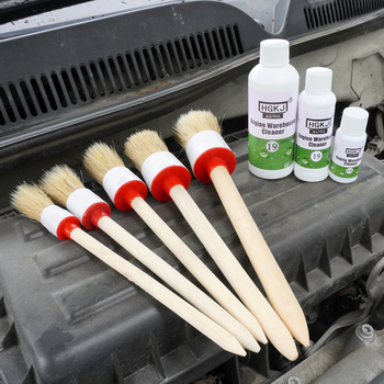 3/5pcs Car Cleaning Brush Soft Bristle Wooden Handle Auto Care For Interior Rims Wheel Air Condition Engine Wash Car Accessories image