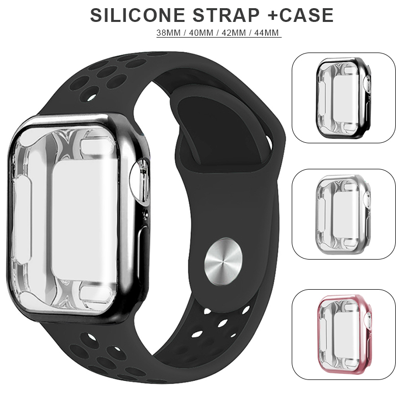 New Breathable Silicone Sports Belt Apple Watch 5 4 3 2 1 42MM 38MM Rubber Band Nike + Iwatch + Case 5 4 3 40mm 44mm