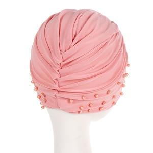 Image 3 - 1PC de las mujeres de algodón cordón India turbante fruncido elástico musulmán gorro para la quimio tapa diadema sueño reparador sombrero Hijabs