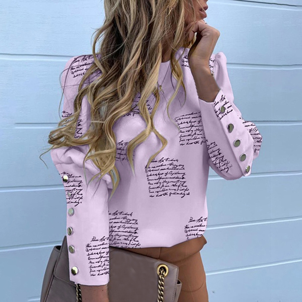 Blouse Shirts Tops Buttoned Detail Puff-Shoulder Pineapple-Print Long-Sleeve Office Lady title=