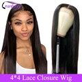 Cabelo de cranberry 4x4 encerramento peruca 100% remy cabelo brasileiro peruca fechamento do laço peruca reta perucas de cabelo humano para preto feminino 10-24 Polegada