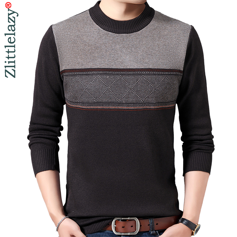 2019 Casual Thick Warm Winter Striped Knitted Pull Sweater Men Wear Jersey Dress Pullover Knit Mens Sweaters Male Fashions 02113