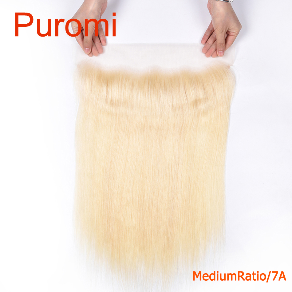 Puromi Straight 13X4 Lace Frontal Closure with Baby Hair 100% Human Hair 613# Color Middle Ratio Remy Human Hair Free Part image