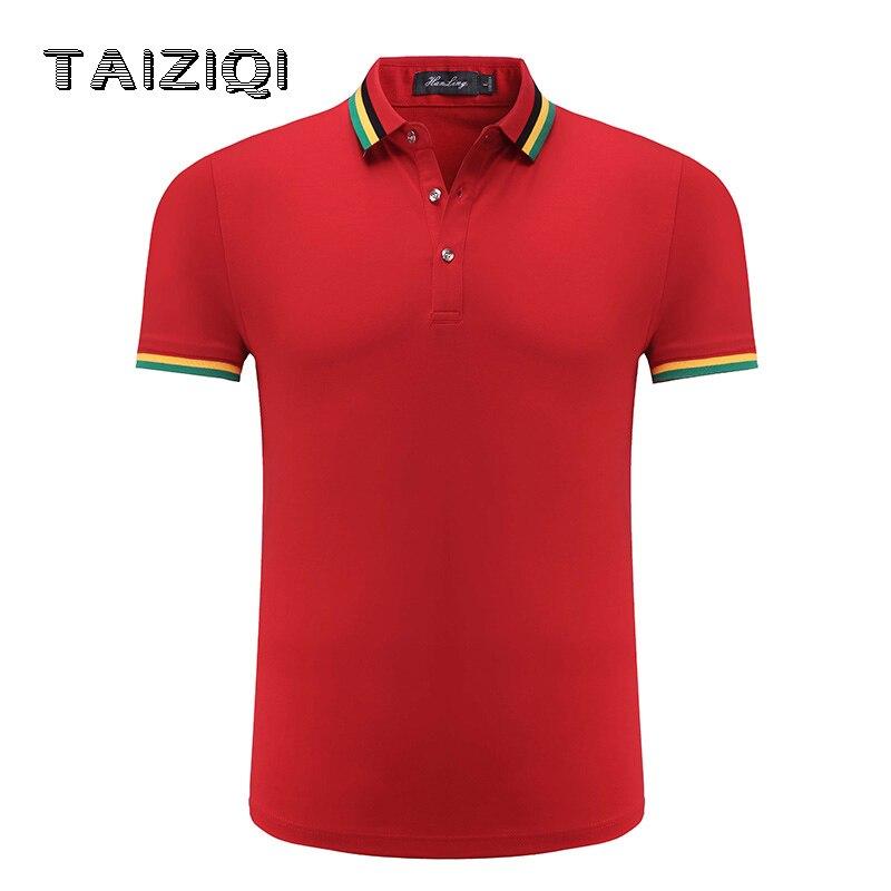 Polo shirt men men\x27s polo Casual Regular Solid Gentleman solid colour Short Sleeve Loose Hem Striped Neckline Shirt Men 6118