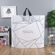 50 pçs grosso grandes sacos de plástico com alça moda preto e branco listras loja de roupas sacos de embalagem saco de presente de doces de casamento