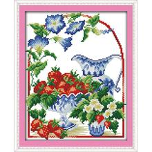 Joy Sunday The Paradise of Strawberry Counted Cross Stitch Kits 11&14CTCross Stitch Needlework for Home Decor Handmade DIY Gift joy sunday sweetnessand poetic counted cross stitch 11