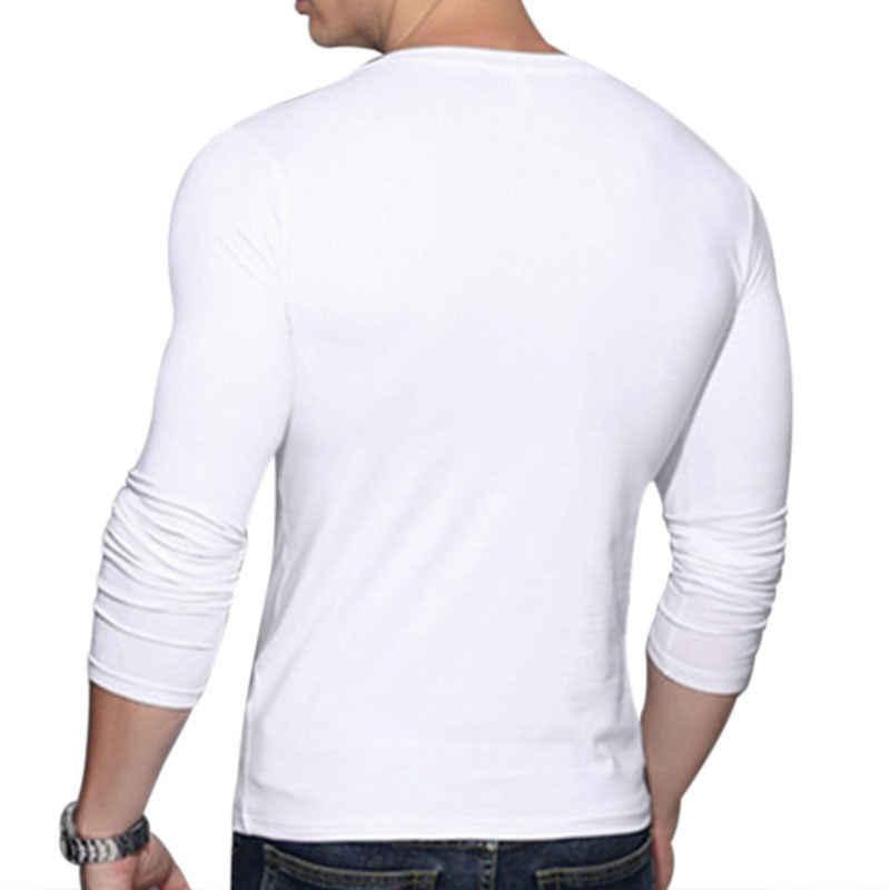 Las nuevas llegadas de moda caliente hombres Sexy camisa de manga larga cuello en V Casual ajustado Fit camiseta Top negro rojo colores blanco