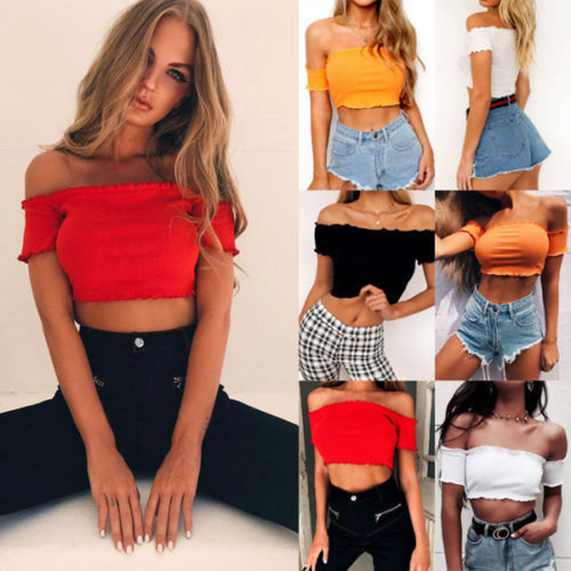 Solid Lace Ruffle Tank Tops Frill Off Shoulder Ribbed Short Sleeve Vest Current Sexy Women Crop Top
