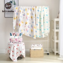 Lets Make Baby Blanket Newborn Cotton Soft Cartoon Children Quilt Unicorn Animal Muslin Diapers Knitted For
