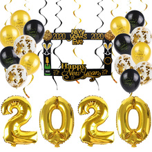 Happy New Year 2020 Deocration Supplies Gold Foil Number Balloons Latex Balloon Decor Photo Frame Supply