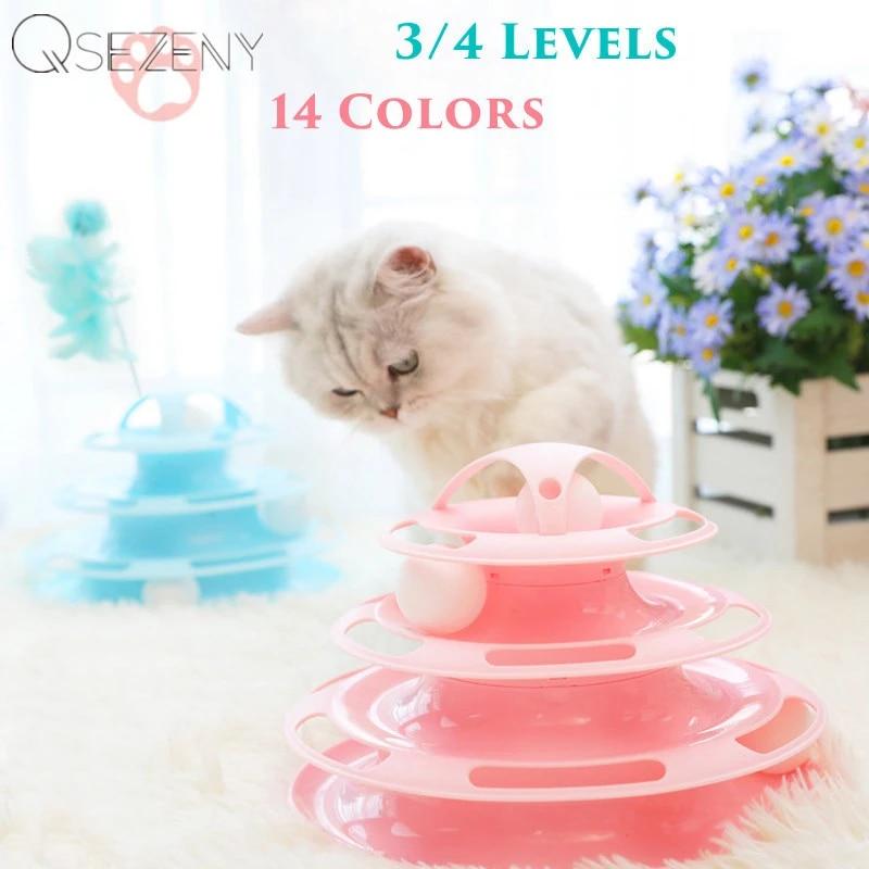 Qsezeny 3/4 Levels Pet Cat Toy Training Amusement Plate Kitten Tower Tracks Disc Cat Intelligence Amusement Triple Disc tumbler