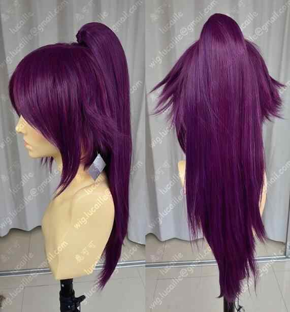 Free Shipping Jewelry Wig Bleach Shihouin Yoruichi 60cm Purple Lolita Cosplay Party Wig w/ Ponytail