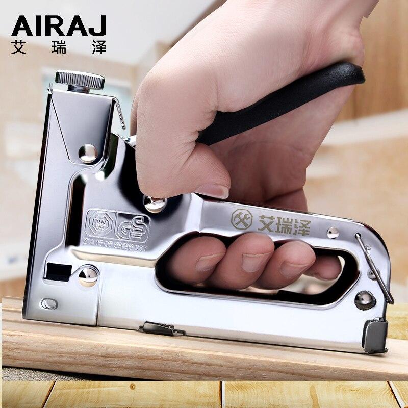 AIRAJ 3-way دليل الثقيلة مسدس مسامير اليد الأثاث دباسة ل تأطير مع 600 قطعة المواد الغذائية بواسطة أدوات النجارة الحرة