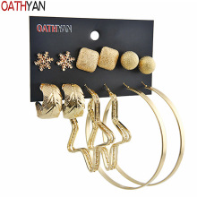 OATHYAN 6 Pairs/Set Fashion Women's Round Star Big Hoop Earrings Sets Mix Gold Color Alloy Square Ball Leaf Circle Earrings Gift gold round leaf earrings