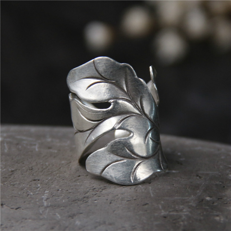 999 Silver Jewelry Ring For Women Thai Silver Ring Vintage Leaf Lady Ring Adjustable Antique Accessorie Width 30mm Weight 8.50g