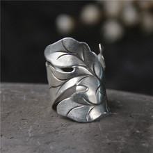 925 Silver Jewelry Ring For Women Thai Silver Ring Vintage Leaf Lady Ring Adjustable Antique Accessory