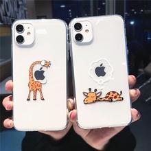 Cute Cartoon zwierząt żyrafa przezroczysty futerał na telefon dla iPhone 11 Pro Max X XS XR 12 Mini 7 8 plus 6s para wyczyść miękka TPU okładka tanie tanio RYKKZ CN (pochodzenie) Aneks Skrzynki Cute Cartoon animal giraffe Transparent Phone Case Apple iphone ów Iphone 6 Iphone 6 plus