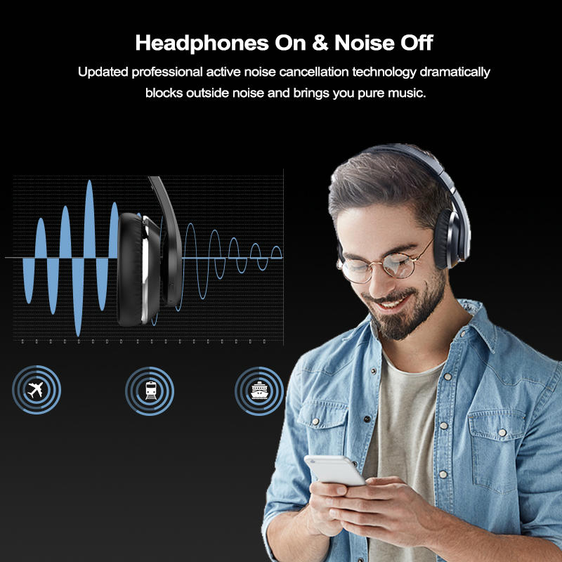 lowest price AUSDOM ANC10 Active Noise Cancelling Wireles Bluetooth Headphones 30 hours play time With HiFi Stereo Bluetooth 5 0 Headset