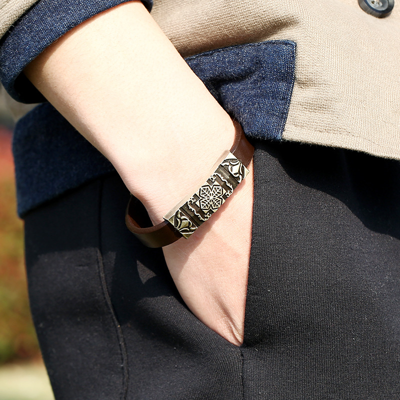 H519d293ff1664b0c8a21e2713f5c95895 - Vintage Retro Cross Brown Genuine Leather Cuff Bracelet Wristbands Metal Bronze Charm Bangle Wrap Women Men Punk Fashion Jewelry
