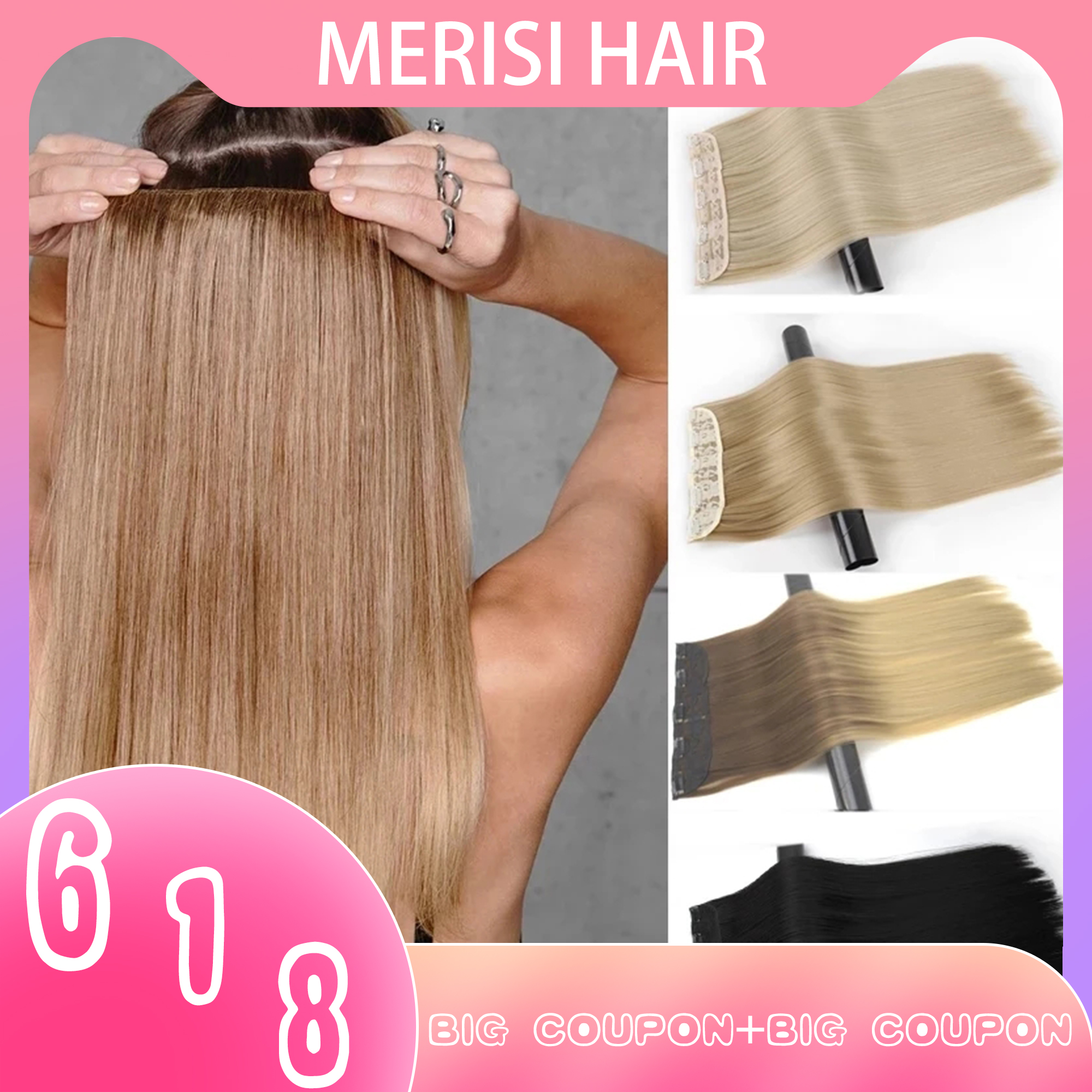 MERISI HAIR 5 Clips Synthetic Hair Long Straight Clip In Hair Extensions False Hair Black Hair Pieces for Women