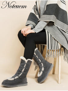 Calf Boot Furry Australia Shoe Girl Winter Genuine-Leather Women Sheepskin with Wool