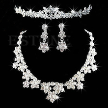Elegant Rhinestone Jewelry Set Necklace Earrings Tiara Crown Prom Wedding Bridal