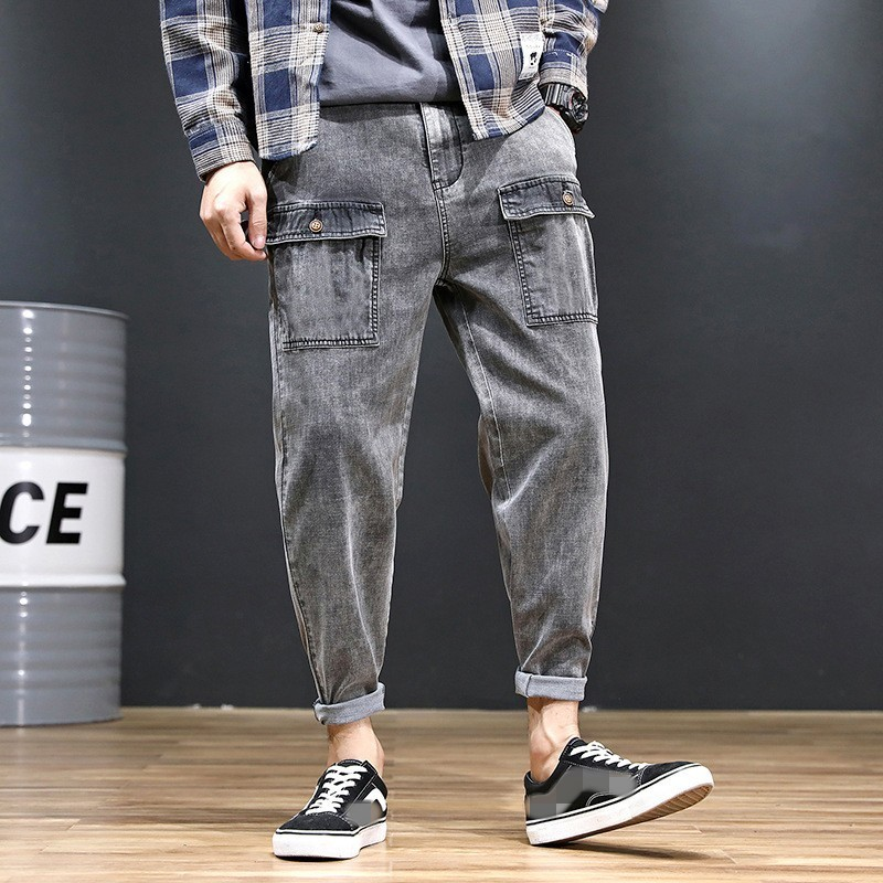 Vintage Stretchy Fashion Safari Style Mens Denim Harem Pants Summer Thin Casual Loose Fit Ankle Length Male Trousers Plus Size