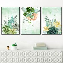 Pink Flower Green Plants Poster Abstract Canvas Painting Wall Art Pictures Home Decor Watercolor Floral Prints Room Decoration цена 2017